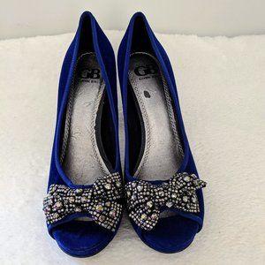 Womens Blue Velvet Gianni Bini Platform Heel Bow 9